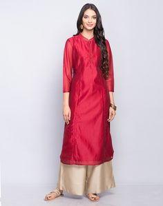 Silk Cotton Zari Stitch Detail Long Kurta
