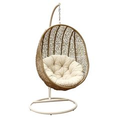 Cameron  Outdoor Light Brown Wicker Swing Chair