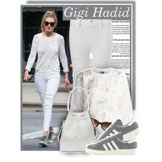 Gigi Hadid on June 10th - All white by anne-mclayne on Polyvore featuring polyvore fashion style Alexis Mabille Frame Denim adidas Dolce&Gabbana