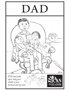 Baby Sign Language Flashcard: Dad Black and White Printable