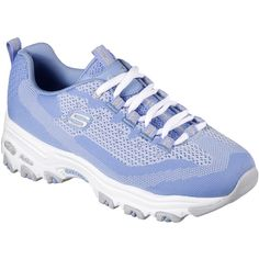 Skechers Women's D'lites - Reinvention Blue - Skechers (615 SEK) ❤ liked on Polyvore featuring shoes, blue, skechers shoes, lace up shoes, blue flat shoes, blue shoes and laced up shoes