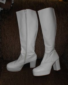 2ffa31f8a8c Rare Vintage 70s ZODIAC White Stacked PLATFORM BOOTS Made in ITALY Size 7  1 2  Zodiac  PlatformBoots