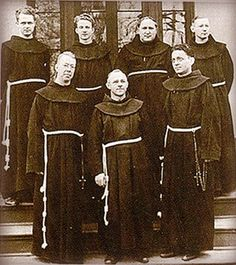 The seven founding friars of St. Bernardine of Siena College, established 1937.