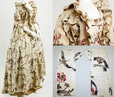 Dress, bodice detail and matching mitts, France, 1750s-1770s, cotton. The Met. http://www.metmuseum.org/collections/search-the-collections/86975?img=0