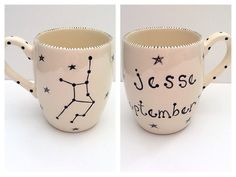 hand painted ceramic astrology personalized coffee mug by suzaluna