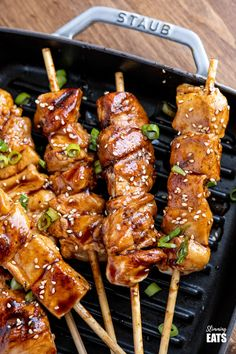 Yakitori Chicken Skewers are great for throwing on the barbecue or grill pan and a simple recipe the whole family will love. Gluten Free, Dairy Free, Slimming World and Weight Watchers friendly Chicken Kebab Recipe Skewers, Chicken Yakitori Recipe, Grilled Chicken Skewers, Skewer Recipes, Healthy Salad Recipes, Vegetarian Recipes, Beef Recipes, Yummy Recipes, Yummy Food