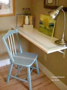 Hometalk :: No Space for a Desk? Install a Shelf Desk!