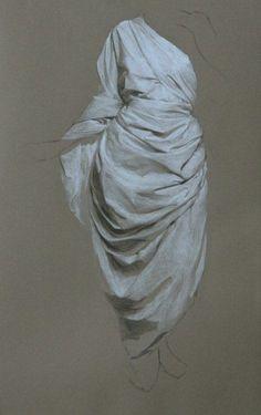 Katie J. Liddiard - Drapery StudyCharcoal and white chalk on toned paper