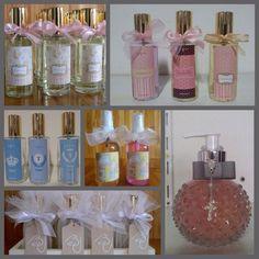 Lindas opções de lembrancinhas de nascimento (aromatizante de ambiente, sabonete líquido, difusor de aroma, gel anticéptico)