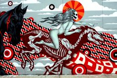Tristan Eaton street art in Williamsburg .