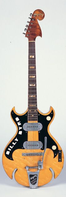 Tremolo pioneer Paul Bigsby finished work on this guitar for country session ace Jimmy Bryant on October 7, 1949, though it ended up going to Ernest Tubb sideman Billy Byrd. The vibrato—which is inset to be flush against the guitar's top—was added not long after the design's introduction in '52.