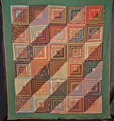 1870's AMERICAN LOG CABIN COURTHOUSE STEPS QUILT HAND STITCHED