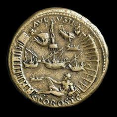 Back of a sestersius issued by Nero in 64AD to celebrate the opening of the port at Ostia