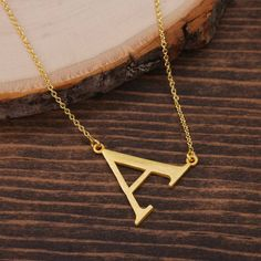 "Letter ""A"" Necklace, Sideways Initial Necklace, Alphabet necklace, Monogram necklace, Gold Necklace, Minimalist Necklace BN1034G3-A by LaurenSpencerJewelry on Etsy"