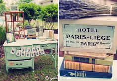 Abohemian French feel was behind this wedding, and books were used as props on avintage desk where guests could write notes to the bride and groom and post them in one of the drawers. Description from southboundbride.com. I searched for this on bing.com/images