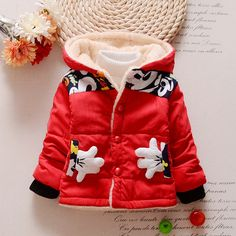 2016 Hot Mickey cotton jacket baby boys and girls warm hoodies sport coat child thick winter coat coat red green yellow light