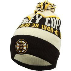 CCM Boston Bruins Legacy Cuffed Knit Stanley Cup Hat - Gold/Black/Natural