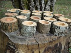 """12 Rustic 2"""" wood candle holders sticks for votive candles, weddings, cabins, decoration, decor, natural tree branch, on Etsy, £14.59"""