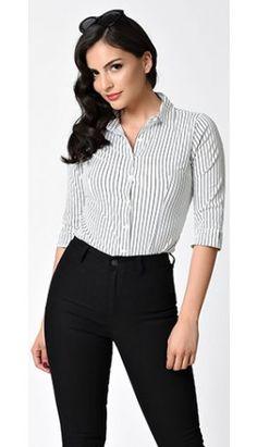 Retro Style White & Black Stripe Half Sleeve Button Up Blouse