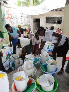 Kits include a basin, an Oxfam bucket, 8 bars of soap, sanitary towels and a potty. Weve also distributed more than 10,000 family basic-needs kits. Distribution and training are part of Oxfams public health promotion work. Employing local Haitia Best! See This! http://all4betterlife.com