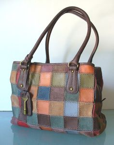 Vintage Fossil Patchwork Leather Bag by TheOldBagOnline on Etsy