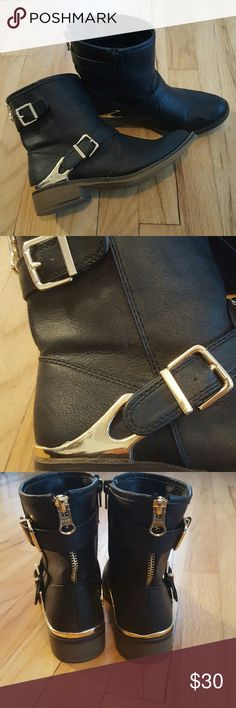 NEW Moto high ankle boots. Size 6.5, fits like 7. New, only worn 1x moto ankle boots with gold detail. Size 6.5 but fits like a 7. Great condition only very minimal ware. Awesome fall and winter boots!   Bundles welcomed! Make me an offer! Happy poshing! XO Shoes Combat & Moto Boots
