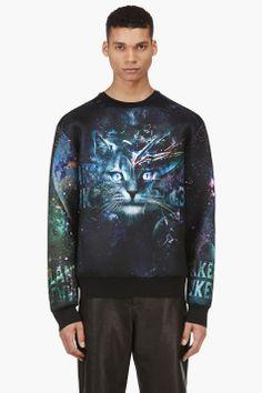 JUUN.J SSENSE EXCLUSIVE Black & Teal Cosmic CAT Sweatshirt