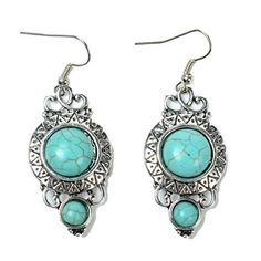 TS Round Vintage Pattern Style Turquoise Inlay Dangle Earrings >>> Review more details @ http://www.amazon.com/gp/product/B015ZD9WN2/?tag=splendidjewelry07-20&pab=170716201741