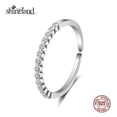 Shineland Genuine 925 Sterling Silver Ring Fashion Zirconia Simple Wedding Engagement Rings For Women Fine Jewelry Party Gift