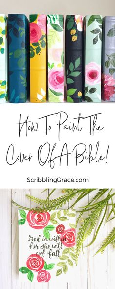 The Bible is filled with so much beauty and power, but for most bibles, that inner beauty of the scripture just doesn't match on the outside! So in this tutorial, I'll walk you through everything you need to know to paint the cover of your Bible (or favor My Bible, Bible Art, Bible Book, Faith Bible, Bible Crafts, Diy Crafts, Painted Books, Hand Painted, Painted Quotes