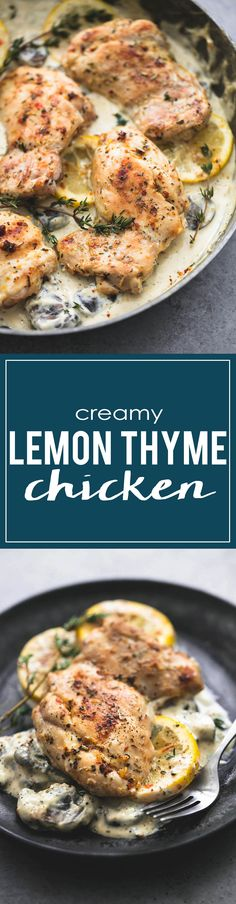 Family-favorite creamy lemon thyme chicken is full of flavor, easy to prepare, and will be on the table in just 30 minutes. Best Chicken Recipes, Turkey Recipes, Dinner Recipes, Chicken Recepies, Party Recipes, Lemon Thyme Chicken, Slow Cooker Spaghetti, Cooking Recipes, Healthy Recipes