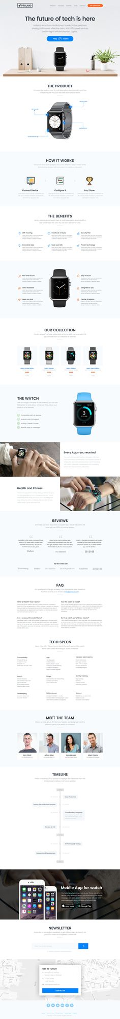'Proland' is a One Page HTML template perfect for your next product campaign. The well designed and thought-out Single Page template is integrated with PayPal and Mailchimp to collect pre-sale income as well as gather email address for the final campaign launch. There is also 2 neat header layout options for Kickstarter and IndieGogo campaigns! Other features include a slick product infographic section, product timeline & a product range section with pop-up order forms.