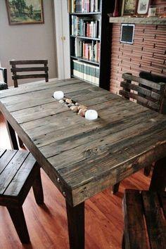 diy-wooden-pallet-dining-table-plans-pallet-furniture-project-ideas #Woodenpalletfurniture