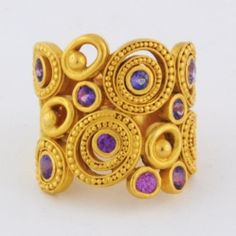 """CAROLYN TYLER Ring, 22ky Gold, 1.50ct Tw. Purple Sapphires, """"Dune"""""""