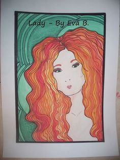 Lady Redhead Drawing Watercolor Painting Green Background Ink 11x15 Original Art #ArtNouveau