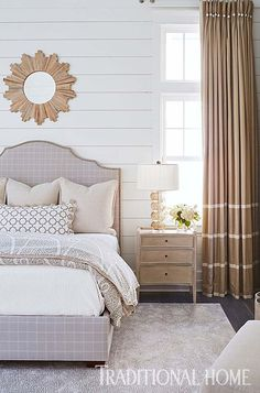 Textured linens and geometrical patterns combine with covered buttons, trim, and ribbons in this neutral space. - Photo: Jean Allsopp / Design: Mary McWilliams and Kenson Bates Home Bedroom, Bedroom Furniture, Master Bedroom, Bedroom Decor, Bedroom Ideas, Boudoir, Headboard Designs, Elegant Homes, Beautiful Bedrooms