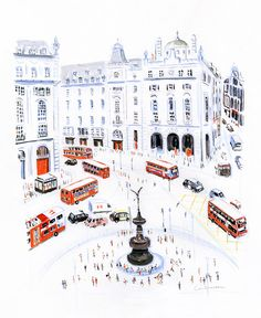 Buses in Piccadilly Circus // Dominique Corbasson Piccadilly Circus, Travel Illustration, Landscape Illustration, Cityscape Drawing, Photo Images, Flower Studio, Landscape Drawings, Landscape Sketch, London Art
