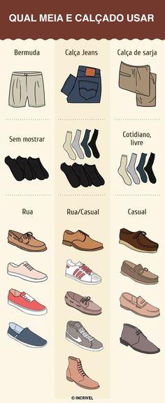 Qual meia e calçado usar se for combinar com bermuda, calça jeans ou sarja.