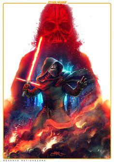 star wars the force awakens - Kylo Ren, an art print by Zork Marinero Star Wars Fan Art, Star Wars Vii, Star Trek, Star Wars Kylo Ren, Darth Vader, Images Star Wars, Fan Poster, Print Poster, Kino Film