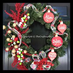 Christmas  Wreath Personalized/Family by TheCraftingChick on Etsy, $50.00