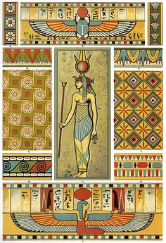 Egyptian Party : decor inspiration : Egyptian Painting and Plastic Art Relief figures, paintings and borders from a sarcophagus and temple columns Egyptian Symbols, Egyptian Art, Egyptian Costume, Egyptian Jewelry, Egyptian Decorations, Ancient Egypt Art, Ancient Greece, Ancient Aliens, Ancient Artifacts