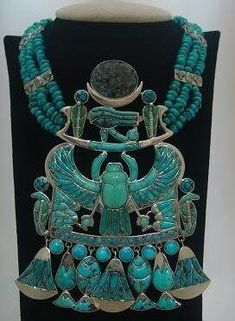Egyptian turquoise scarab necklace