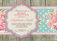 Shabby Chic Baby Shower Invitation by SayItLoudDesigns on Etsy, $12.00