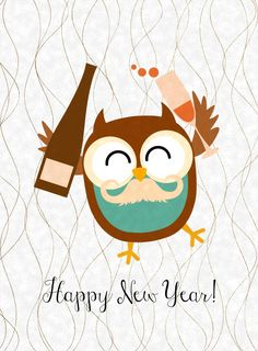 Free Happy New Year Owl Printables more designs to choose from} from Glued To My Crafts Happy New Year 2016, New Year 2018, New Year Printables, Free Printables, Christmas Printables, Happy New Year Wallpaper, New Year Pictures, Quotes About New Year, New Years Decorations