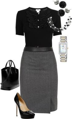 Gray work pencil skirt ...