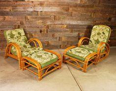Vintage Bent Rattan Chair Set // 1950's Tiki Bamboo 4-Piece Set - Lounger, Recliner