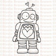 Digital stamp  Lovely Robot by BirdieBrown on Etsy, $2.50