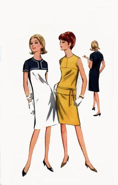 1960s ColorBlock Shift Dress or Overblouse an Skirt Butterick 3891 Vintage 60s Sewing Pattern Size 14 Bust 34 UNCUT by sandritocat on Etsy