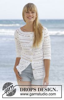 "Seashore Bliss Cardigan - Crochet DROPS jacket with lace pattern and round yoke in ""Cotton Light"". The piece is worked top down. Size: S - XXXL. - Free pattern by DROPS Design Crochet Cardigan Pattern Free Women, Cardigan Au Crochet, Crochet Jacket, Knit Or Crochet, Knitting Patterns Free, Free Knitting, Crochet Patterns, Free Pattern, Moda Crochet"
