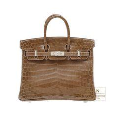 3338e64baff Hermes Birkin bag 25 Ficelle Niloticus crocodile skin Silver hardware Hermes  Bags